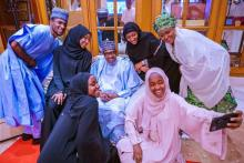 President Muhammadu Buhari and his family celebrating Eid-Al-Fitr.
