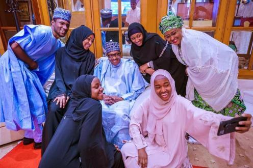 President Muhammadu Buhari and his family celebrating Eid-Al-Fitr.