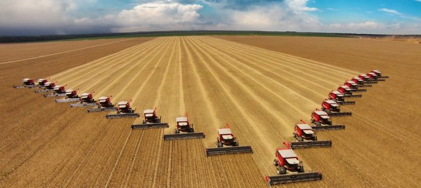 Harvesters work on a soybean harvest in the state of Mato Grosso, Brazil. (Pixabay)