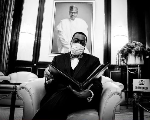 AFDB President Dr Akinwunmi Adesina visits President Buhari [Photo - @BayoMomboriowo]