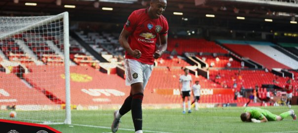 Anthony Martial celebrating his goal against Sheffield United. [PHOTO CREDIT: Official Twitter handle of Man Utd]