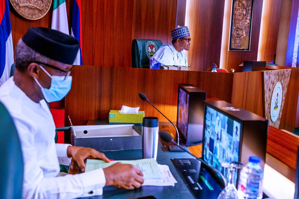 . President, VP, SGF, COS, NSA and a few Ministers present in person at the State House Council Chambers, while the rest of the Cabinet participate remotely. [PHOTO CREDIT: @NGRPresident]