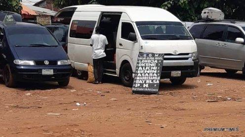 Buses loading for interstate travels at TV Park, Kaduna, despite the interstate travel ban.