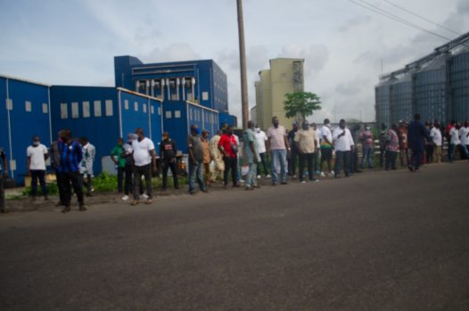 A cross-section of the dockworkers during the procession