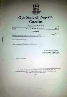 Oyo State Gazette published in 2016.