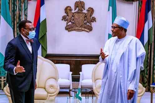 President @MBuhari receives President of African Development Bank (AfDB), Dr. @Akin_Adesina, at the State House, Abuja. [PHOTO CREDIT: BASHIR AHMAD]