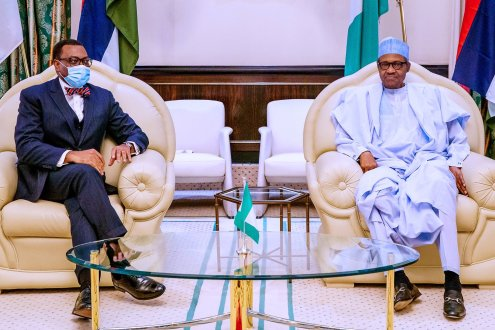 President @MBuhari receives President of African Development Bank (AfDB), Dr. @Akin_Adesina, at the State House, Abuja. [PHOTO CREDIT: BASHIR AHMAD]