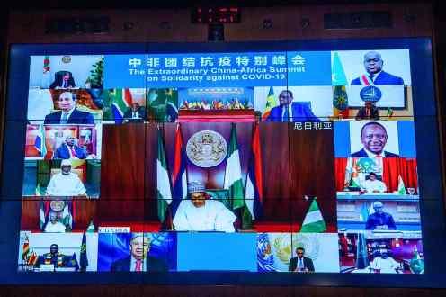 President Muhammadu Buhari during the Virtual China-Africa Extra Ordinary Summit[PHOTO CREDIT: Ahmaad Bashir]