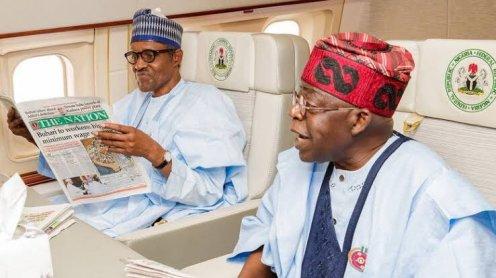President Muhammadu Buhari and APC Leader Bola Tinubu [PHOTO CREDIT: Bashir Ahmaad]