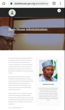 Jalal Arabi still showing as Permanent Secretary of the State House
