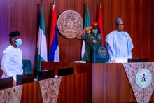 The Federal Executive Meeting (FEC) presided over by President Muhammadu Buhari, VP, SGF, COS, NSA and a few Ministers present in person at the State House Council Chambers, while the rest of the Cabinet participate remotely. #AsoVillaToday