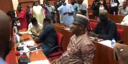 Minister of State for Labour and Employment, Festus Keyamo, exchange words with members of national assembly Joint Committee on Labour.