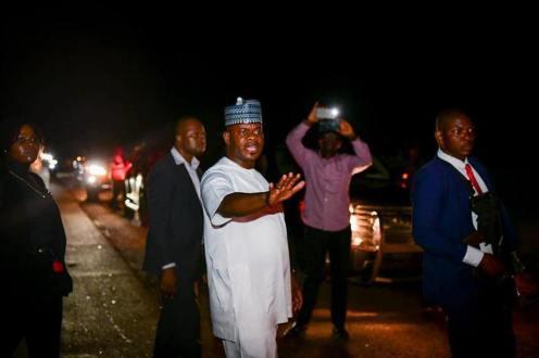 Yahaya Bello visited the heavy gridlock on the Gegu-Koton karfe section of the Lokoja-Abuja highway [PHOTO CREDIT: Alhaji Yahaya Bello on Facebook]