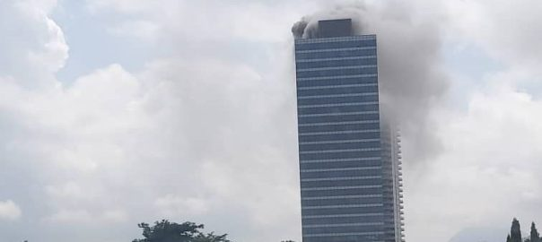 Abuja world trade centre Abuja pictured in flames [PHOTO:: @mobilepunch]