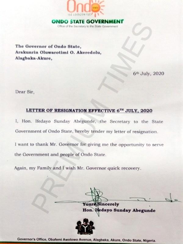 Resignation letter of Ondo SSG, Ifedayo Abegunde, ahead of governorship election.