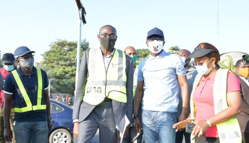 L-R: Project Manager, Planet Project, Engr. Sanni Ismaheel; Lagos State Commissioner for Transportation, Dr. Federic Oladeinde; Governor Babajide Sanwo-Olu and his Special Adviser on Works and Infrastructure, Engr. (Mrs) Aramide Adeyoye, during an inspection of the Lekki roundabout removal, on Saturday, July 25, 2020.