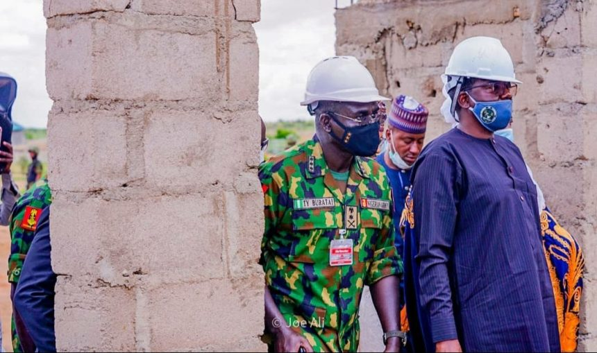 Chief of Army Staff, Lt. General Tukur Buratai with Governor Bello Matawalle during the project inspection.
