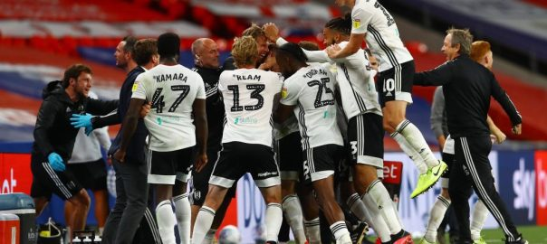 Jubilant Fulham players after the match (PHOTO CREDIT: FulhamFC)