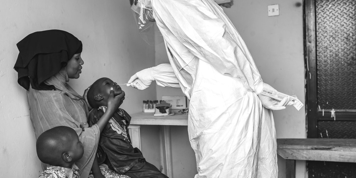 A family is being tested for COVID-19 in Nigeria [PHOTO: TW: @NCDCgov]