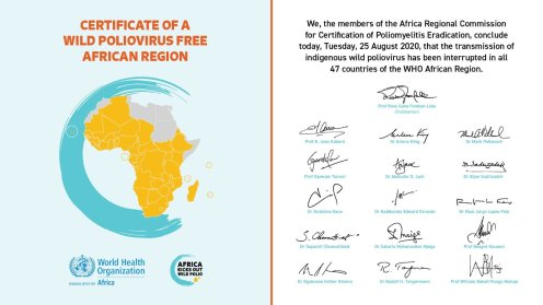 African Regional Certification Commission #ARCC for polio eradication officially certified the WHOAfricanregion polio-free. [photo credit: @Fmohnigeria]