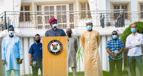 Lagos State Deputy Governor, Dr. Obafemi Hamzat; Commissioner for Information and Strategy, Mr. Gbenga Omotoso; Governor Babajide Sanwo-Olu; Commissioner for Transportation, Dr. Frederic Oladeinde; Head of Service, Mr. Hakeem Muri-Okunola; Commissioner for Economic Planning and Budget and his counterpart for Health, Prof. Akin Abayomi, during a media briefing on the gradual easing of COVID-19 lockdown, at Lagos House, Marina, on Saturday, August 1, 2020.