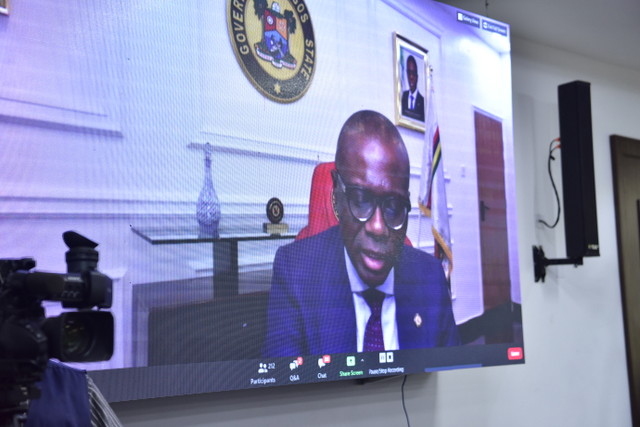 Lagos State Governor Babajide Sanwo-Olu delivering his goodwill message