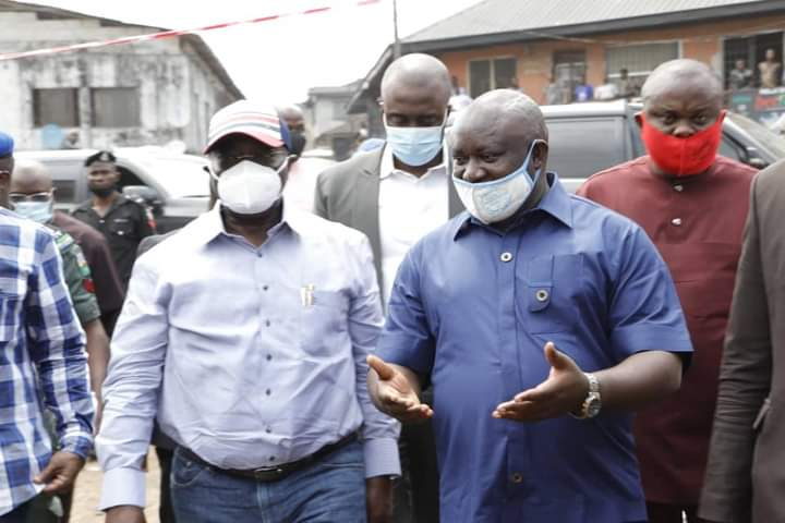 Governor Okezie Ikpeazu visits site of collapsed building, suspends town planner as death toll rises to five