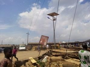 non-functioning solar street light at Bodija market in Ibadan
