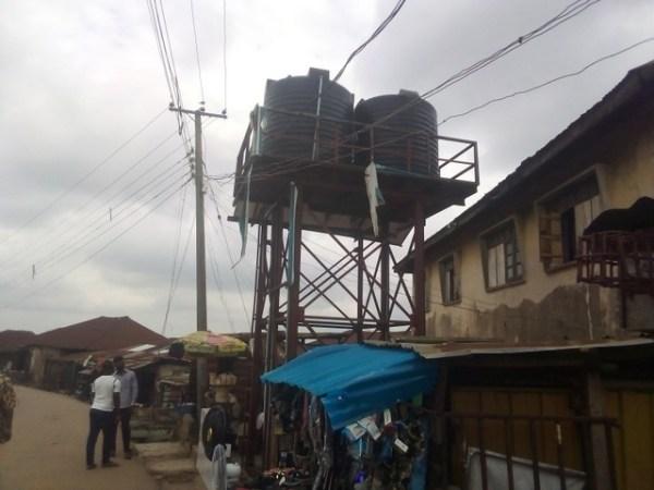 overhead tanks non-functioning solar powered borehole at Yemetu in Ibadan