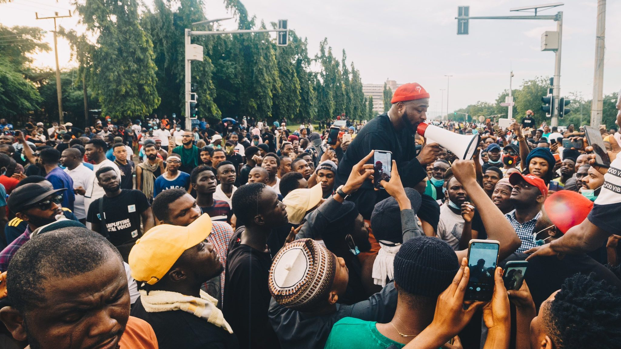 David Adeleke also known as Davido, joins the #EndSARS protest in Abuja. [PHOTO CREDIT: Official Twitter handle of Davido]