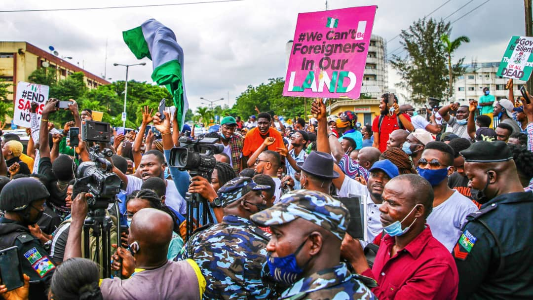 #EndSARS protesters at the State House in Alausa, Ikeja, on Friday, October 9, 2020.