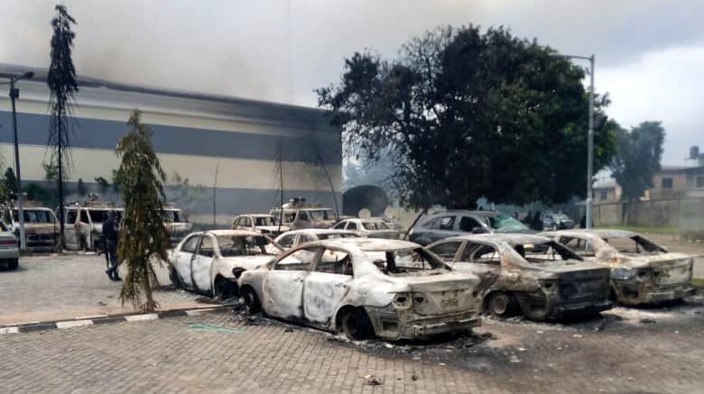 Images of burnt properties of TVC headquarters in Lagos