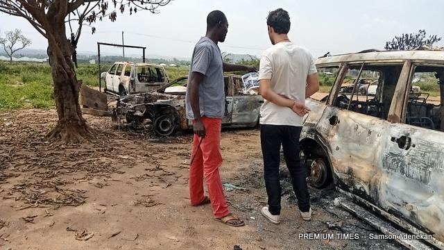 Mr Okora at his razed workshop