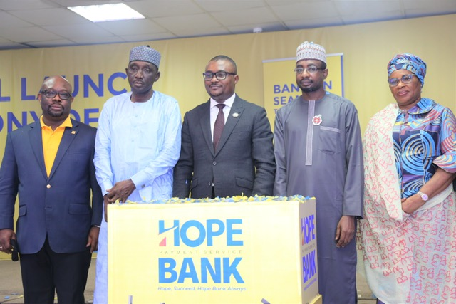 L-R: The Managing Director, Hope PSBank, Mr. Ayotunde Kuponiyi; the Chairman, Hope PSBank, Alhaji Shehu Abubakar; the Lagos State Commissioner for Finance, Dr. Rabiu Olowo; the Director General, National Information Technology Development Agency (NITDA), Alhaji Kashifu Inuwa Abdullahi and Director, Hope PSBank, Mrs. Fatima Mede during the official launch of Hope PSBank in Lagos on Tuesday.