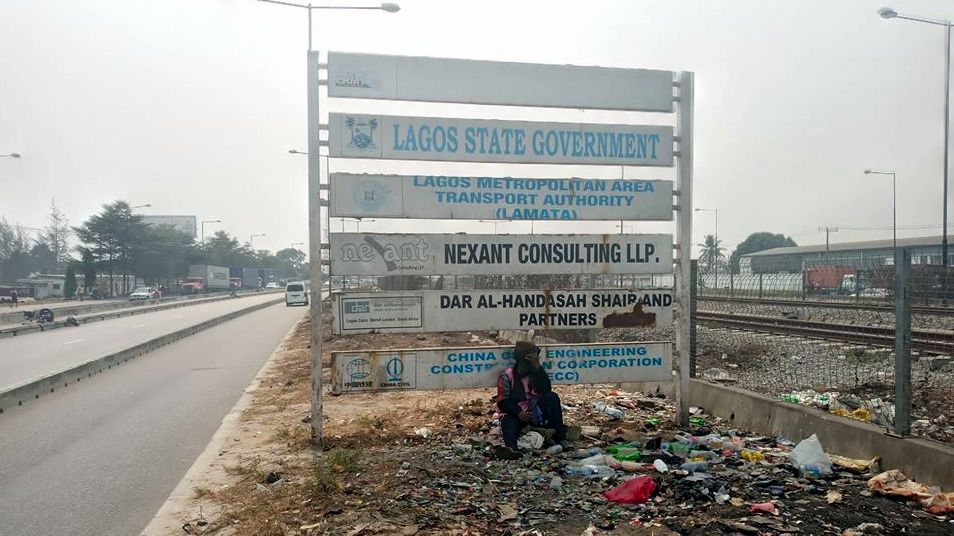 A project signboard along Lagos metro rail.