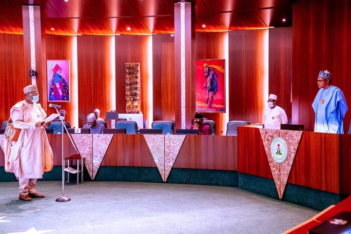 The swearing-in ceremony of Mahmood Yakubu, the Chairman, of the Independent National Electoral Commission (INEC)