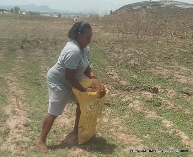Mercy Nnanna working on her farm land in Abuja
