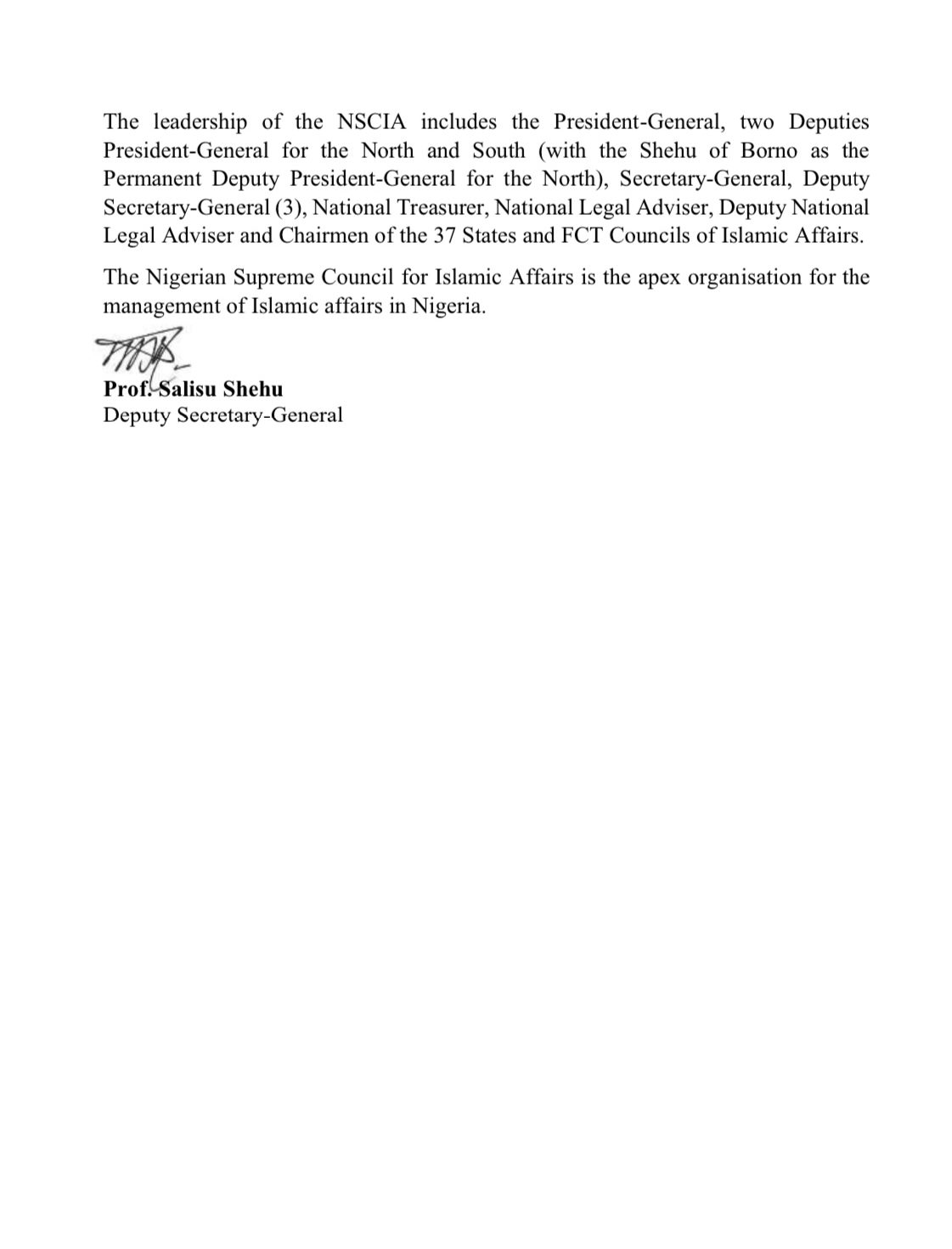 APPOINTMENT OF A NEW DEPUTY PRESIDENT-GENERAL (SOUTH) FOR THE NIGERIAN SUPREME COUNCIL FOR ISLAMIC AFFAIRS (NSCIA)