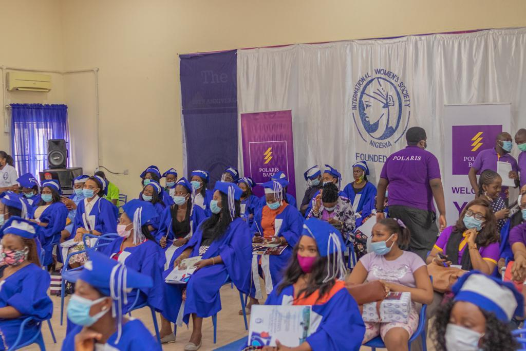 A cross-section of students at the 21st Anniversary & Graduation Ceremony of International Women's Society IWS Skills Acquisition Center at Lekki, Lagos, recently.