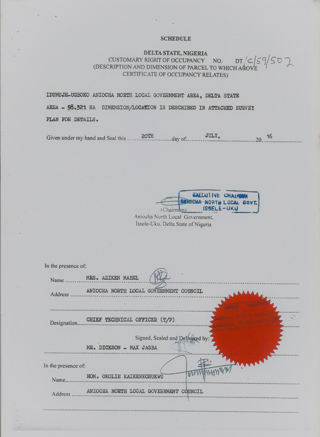 A Screenshot of the Certificate of Occupancy of the 98.321 Hectares