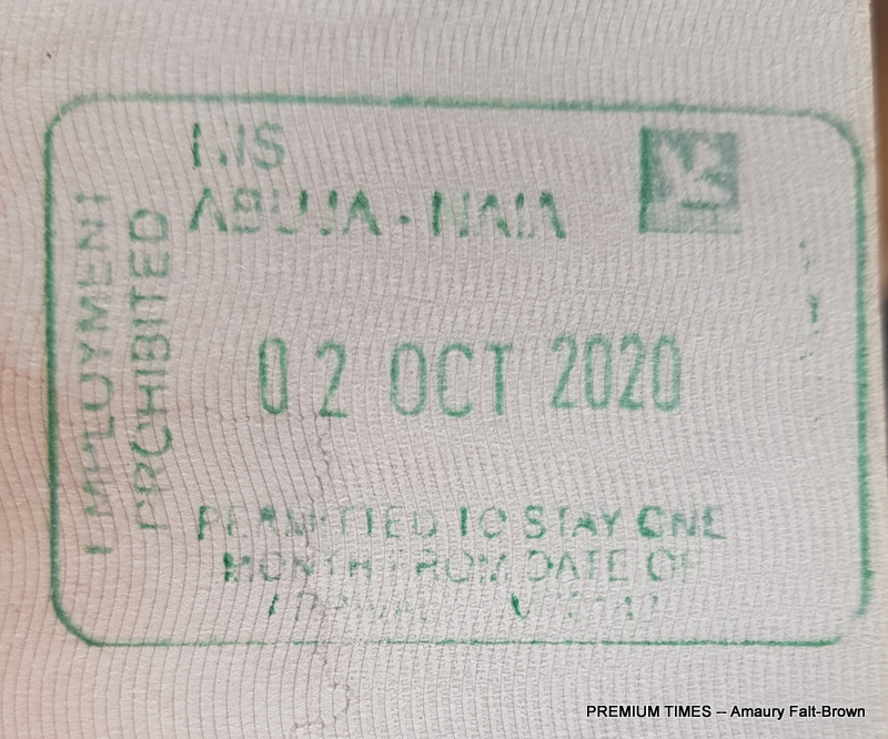"""""""Stamp in the passport calling for visitors to Nigeria to renew the passport after one month."""""""