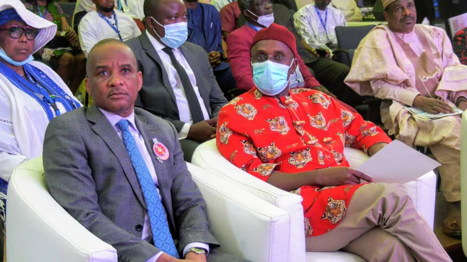 Minister of Transport Rt. Hon. Rotimi Chibuike Amaechi (L) and the President of Chartered Institute of Transport Administration of Nigeria (CIoTA) Dr. Bashir Jamoh during the second National Transport Summit organized by CIoTA in Abuja.