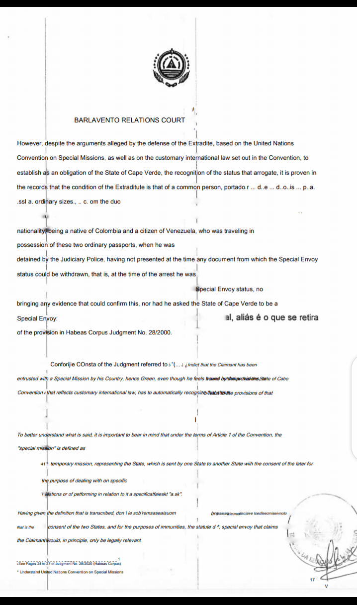 A screenshot of judgement's documents indicating the argument for and against Mr Saab's detention.