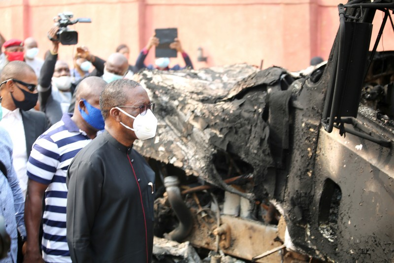 Governor Okowa and his team at the explosion scene
