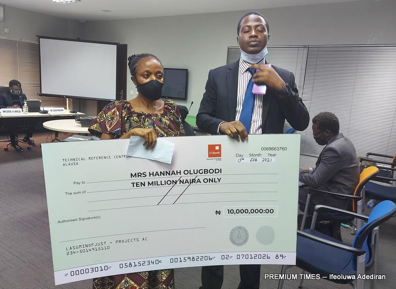 Hannah Olugbodi, a victim of police stray bullet awarded N10 million by the panel.