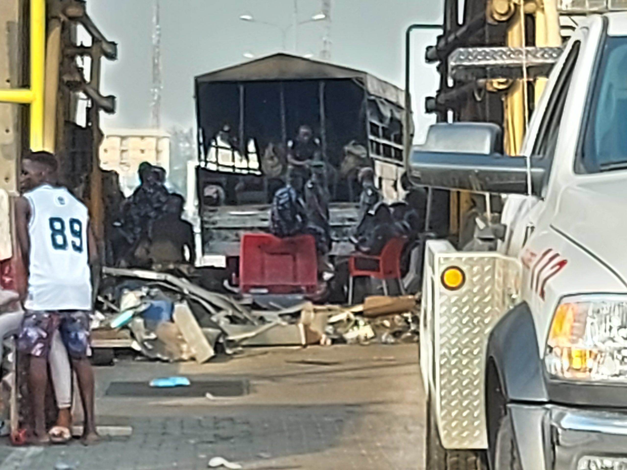 The Black Maria with which the first set of Protesters arrested at Lekki Toll Gate were taken away.