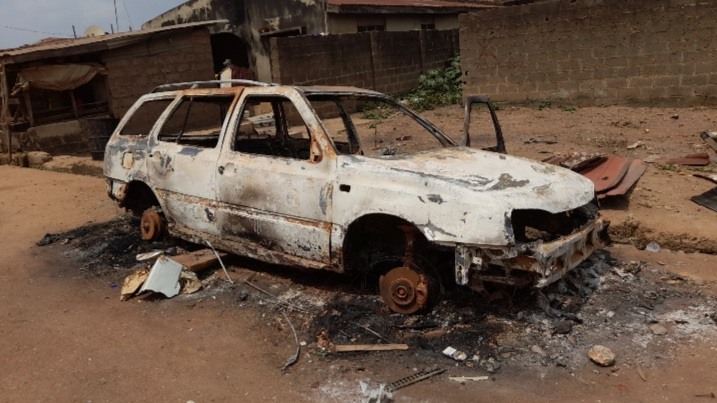 Burnt vehicle during Sasha Crisis