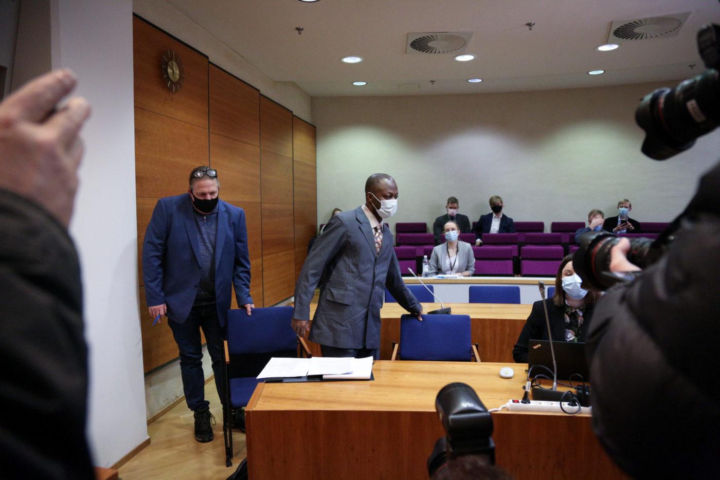 War crimes suspect Gibril Massaquoi enters the courtroom in Tampere, Finland. Premium Times /Saila Huusko