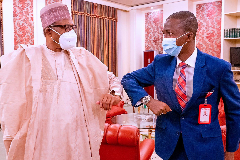 Buhari meets new EFCC Chair at Aso Villa