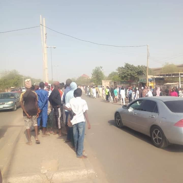 Stranded residents waiting for alternative transport at Kano metropolis